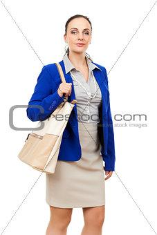 business woman with a beige handbag