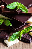 Chocolate tower with mint