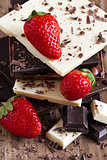 Chocolate tower with strawberry