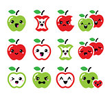 Cute red apple and green apple kawaii icons set