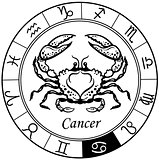 cancer zodiac black white
