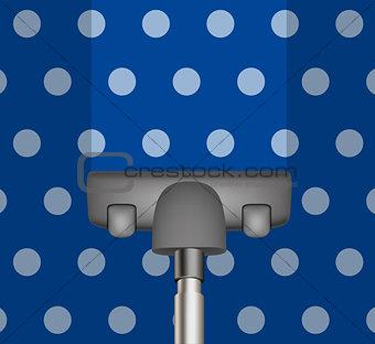 Vacuum cleaner drains blue carpet
