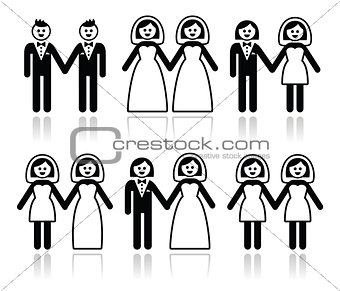 Gay and lesbian wedding - groom and bride icons set