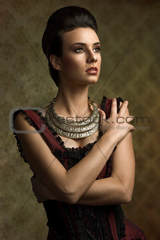 old fashion girl with necklace