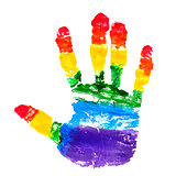 handprint with the colors of the rainbow flag