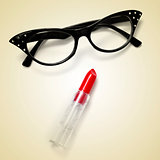 eyeglasses and lipstick
