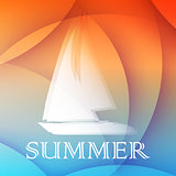 summer background with boat, flat design