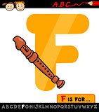 letter f with flute cartoon illustration