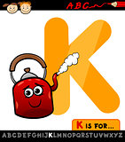 letter k for kettle cartoon illustration