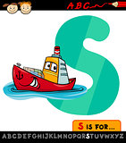 letter s with ship cartoon illustration