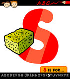 letter s with sponge cartoon illustration