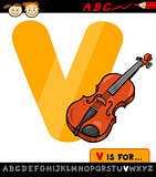 letter v with violin cartoon illustration