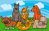 cute dogs group cartoon illustration