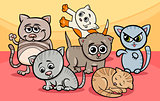 cute kittens group cartoon illustration
