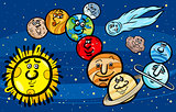 solar system planets cartoon illustration