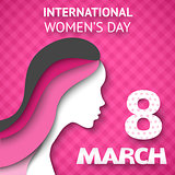 Happy Women's Day greeting or gift card on pink background