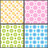 Spring abstract floral vector seamless patterns on white background (tiling)