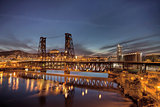 Steel Bridge Over Willamette River at Blue Hour