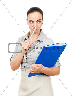 business woman with a blue binder