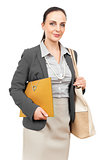 business woman with an orange binder
