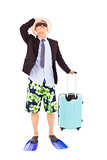 businessman holding baggage and ready to go on vocation