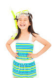 happy asian little girl wearing swimsuit