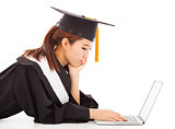 unhappy female graduation thinking about career or job