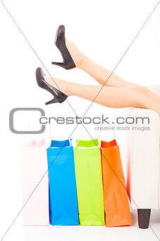 beautiful Woman's legs and shopping bags