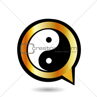 Alphabet Q with ying and yang symbol
