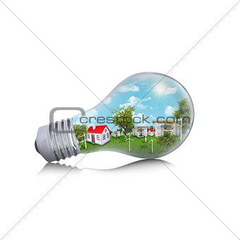 Houses in the light bulb