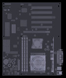 Motherboard. X-ray render