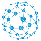 Wire frame sphere. Social network concept