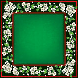 abstract green grunge background with spring flowers