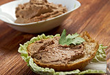 slice of bread with pate