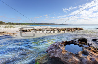 Flat Rock Creek at southern end of Hyams Beach