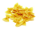Raw Italian pasta made on a white background