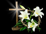 Cross with Easter lilies