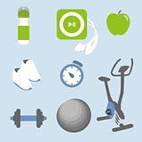 Fitness icons set: eight elements