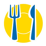 Yellow plate with blue fork and knife - isolated illustration