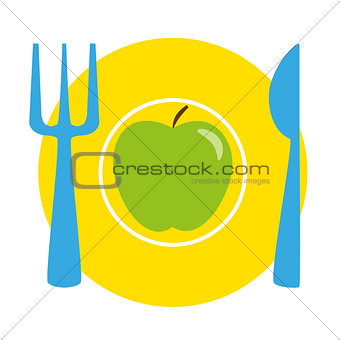 Green apple on the yellow plate with blue fork and knife - isolated illustration