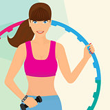 beautiful woman exercisingwith hula hoop