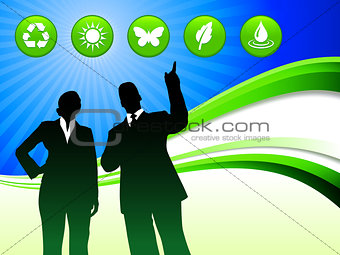 Business Couple on Abstract Wave Background with Nature Buttons