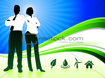 Business Couple on Abstract Wave Background with Nature Icons