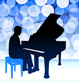 Piano Musician on Blue Lens Flare Background