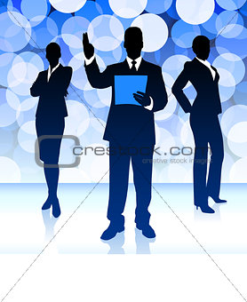 Business Team on Blue Lens Flare Background