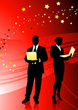 Business Couple on Abstract Red Background