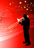 Trumpet Musician on Abstract Red Background