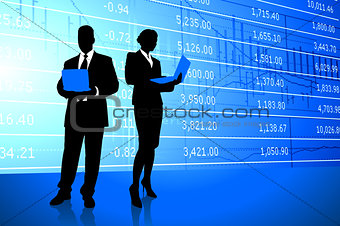 Business Couple on Stock Market Background