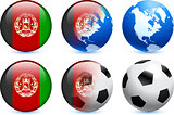 Afghanistan Flag Button with Global Soccer Event