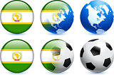 African Union Flag Button with Global Soccer Event